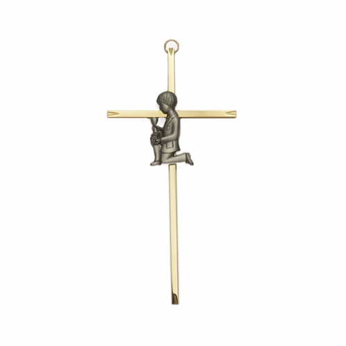 8 Inch Brass Wall Cross with Centered Pewter First Communion Boy