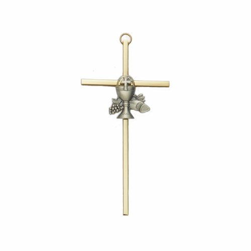 8 Inch Brass Wall Cross with Centered Pewter First Communion Chalice