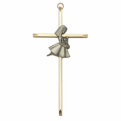 8 Inch Brass Wall Cross with Centered Pewter First Communion Girl