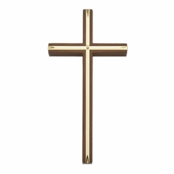 8 Inch Engraved Brass and Walnut Wall Cross