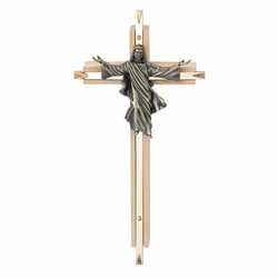 8 Inch Oak and Antiqued Pewter Risen Christ Wall Cross