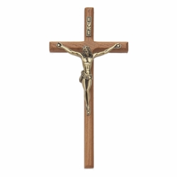 8 Inch Walnut Wall Crucifix with Antiqued Gold Pewter Corpus