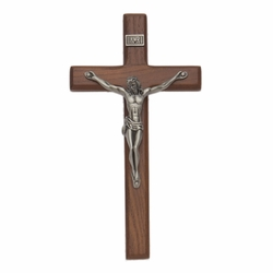 8 Inch Walnut Wall Crucifix with Antiqued Pewter Corpus
