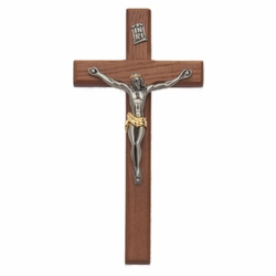 8 Inch Walnut Wall Crucifix with Antiqued Two-Tone Pewter Corpus