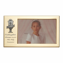 8 x 4-1/2 Inch Gold Plated Goddaughter First Holy Communion Photo Frame