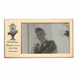8 x 4-1/2 Inch Gold Plated Granddson First Holy Communion Photo Frame