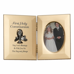 8 x 5-1/2 Inch Gold Plated Chalice First Holy Communion Double Photo Frame
