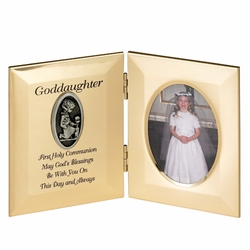 8 x 5-1/2 Inch Gold Plated Goddaughter First Holy Communion Double Photo Frame