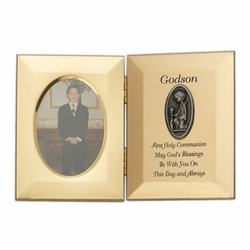 8 x 5-1/2 Inch Gold Plated Godson First Holy Communion Double Photo Frame