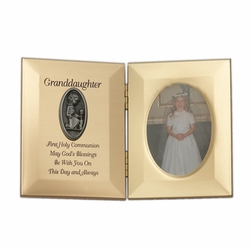 8 x 5-1/2 Inch Gold Plated Granddaughter First Holy Communion Double Photo Frame