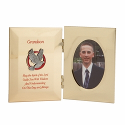 8 x 5 Inch Metal Confirmation Grandson Photo Frame with Photo Insert