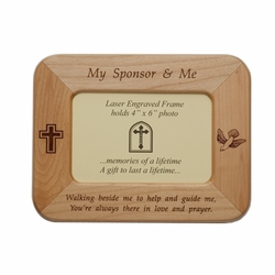 8 x 6-1/2 Inch Maple Wood Confirmation My Sponsor & Me Photo Frame