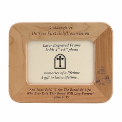 8 x 6-1/2 Inch Maple Wood Goddaughter First Holy Communion Photo Frame