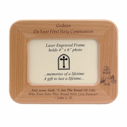 8 x 6-1/2 Inch Maple Wood Godson First Holy Communion Photo Frame