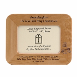 8 x 6-1/2 Inch Maple Wood Granddaughter First Holy Communion Photo Frame