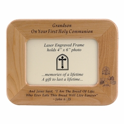 8 x 6-1/2 Inch Maple Wood Grandson First Holy Communion Photo Frame