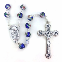 8mm Blue Cloisonne Beads Rosary with Crucifix and Center