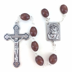 8mm Oval Brown Wood Beads Rosary with Crucifix and Center