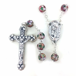 8mm Rose Cloisonne Beads Rosary with Crucifix and Center