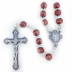 8mm Round Brown Wood Beads Rosary with Crucifix and Center