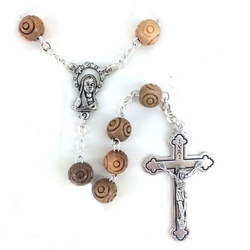 8mm Round Olive Wood Beads Rosary with Crucifix and Center