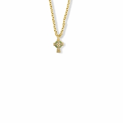 9/16 Inch 14K Gold Filled Celtic Cross with Green Enamel Detail Baby Cross Necklace