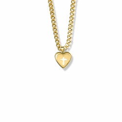 9/16 Inch 14K Gold Filled Cross on Heart Locket Necklace