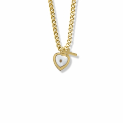 9/16 Inch 14K Gold Filled Mustard Seed Heart and Cross Necklace