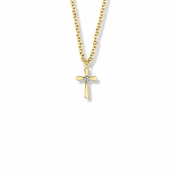 9/16 Inch 14K Gold Filled Rounded Ends Cross Necklace with Cubic Zirconia Stone