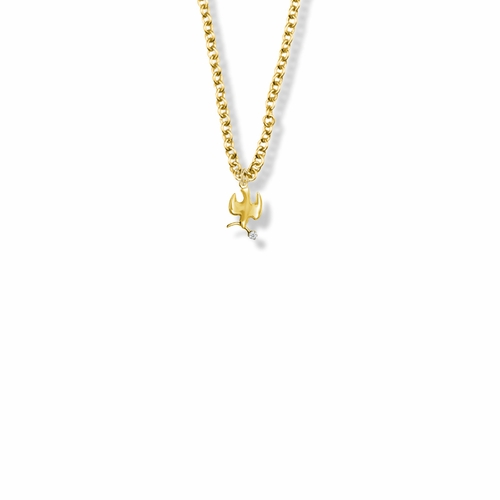 9/16 Inch 14KT Gold Plated Over Sterling Silver Dove Necklace with Olive Branch and Cubic Zirconia Stone