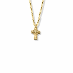 9/16 Inch 14K Gold Over Sterling Silver Small Celtic Cross Necklace