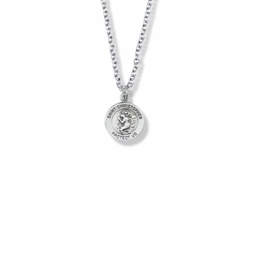 9/16 Inch Round St. Christopher Medal, Patron of Travelers