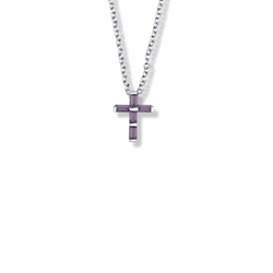 9/16 Inch Sterling Silver Amethyst Cubic Zirconia Cross Necklace