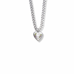 9/16 Inch Sterling Silver and Enameled Rose with Cross on Heart Locket Necklace