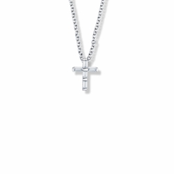 9/16 Inch Sterling Silver Crystal Cubic Zirconia Cross Necklace