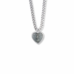 9/16 Inch Sterling Silver Heart Shaped Blue Enameled Miraculous Medal
