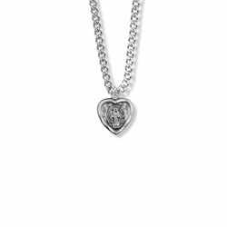 9/16 Inch Sterling Silver Heart  Shaped Miraculous Medal
