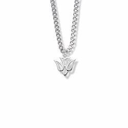 9/16 Inch Sterling Silver Pierced Outline Dove Necklace
