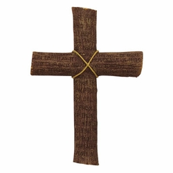 "9"" Resin Cross Inscribed w/Our Father Prayer"