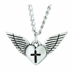 Antiqued Pewter Angel Wing Heart and Cross Necklace