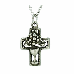 Antiqued Silver Plated Eucharist Cross Necklace