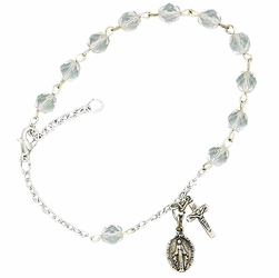 April Rosary Bracelet with Sterling Silver Medal and Crucifix Charms