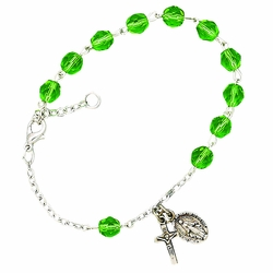 August Rosary Bracelet with Sterling Silver Medal and Crucifix Charms