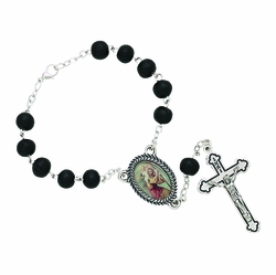 Black Wood Auto Rosary Bead with St. Christopher Center