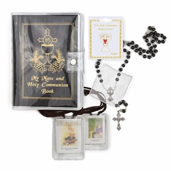 Boy's Communion Set with Black Mass Book, Cloth Scapular, Rosary, and Pin