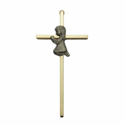 Brass Cross with Fine Pewter Praying Girl