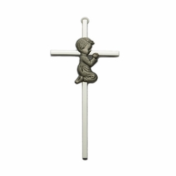 Brass Silver Plated Cross with Fine Pewter Praying Boy