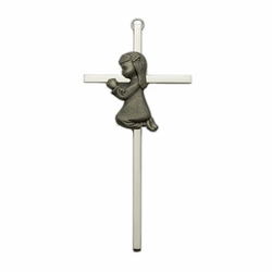 Brass Silver Plated Cross with Fine Pewter Praying Girl