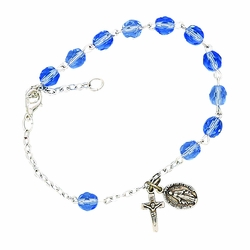 December Rosary Bracelet with Sterling Silver Medal and Crucifix Charms
