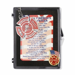 """Firefighter """"A Fireman's Prayer"""" Appreciation Boxed Gift Set-Includes Verse Card, Keychain, and Lapel Pin"""